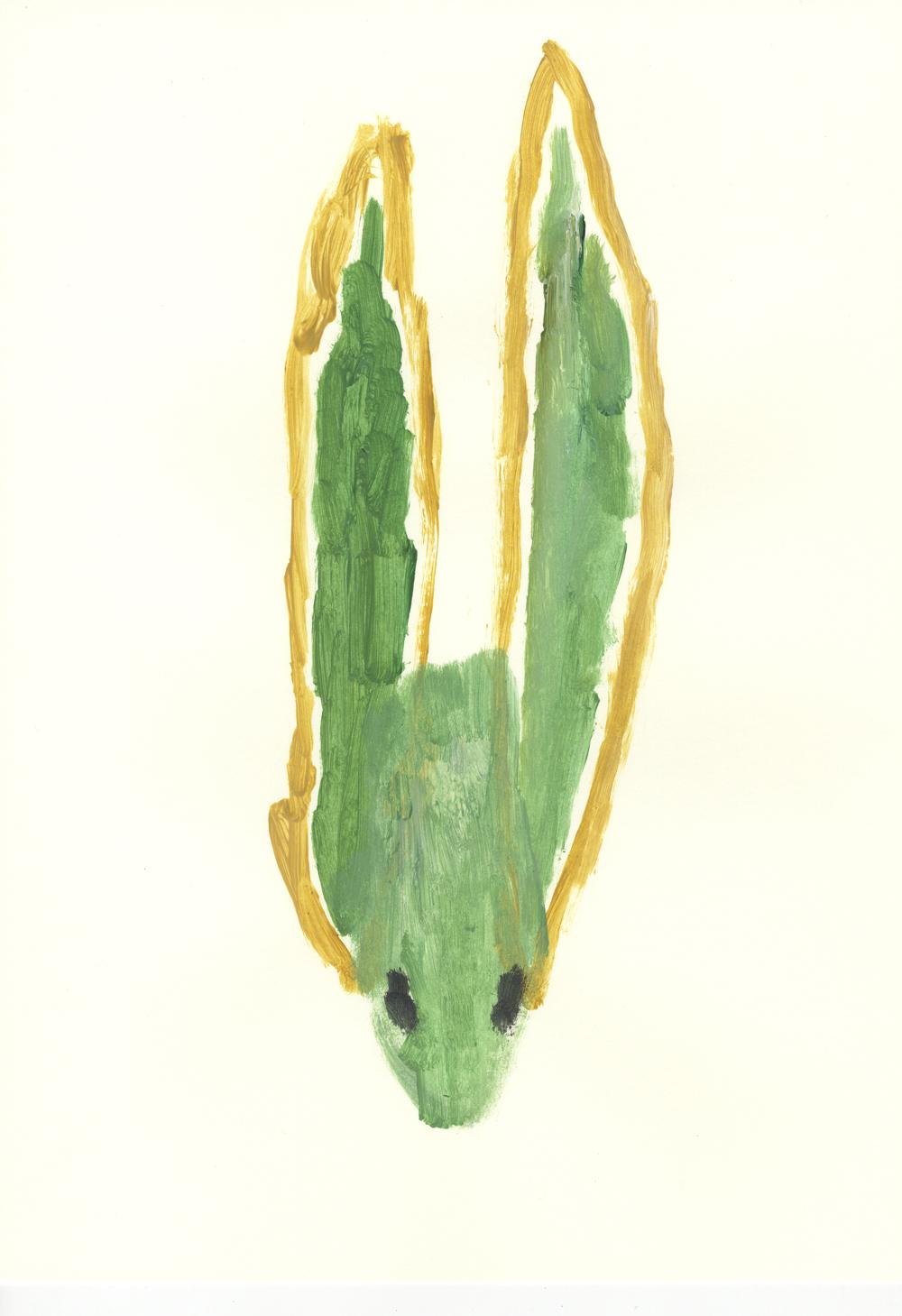 Con las orejas tiesas. Acrílico sobre papel. 42x29,7cm