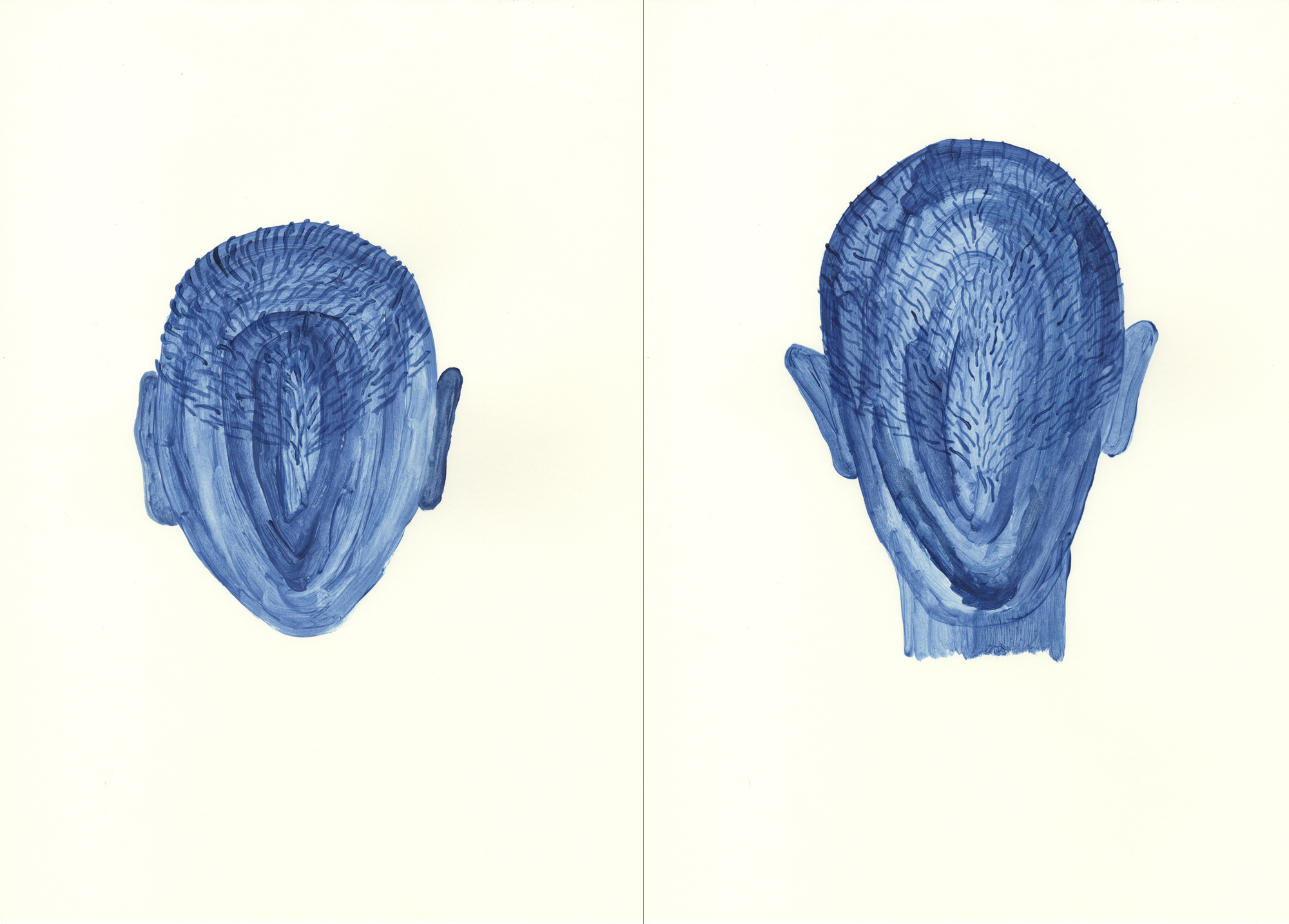 Autorretrato pipa. Acrílico sobre papel. (Díptico) 42x60cm
