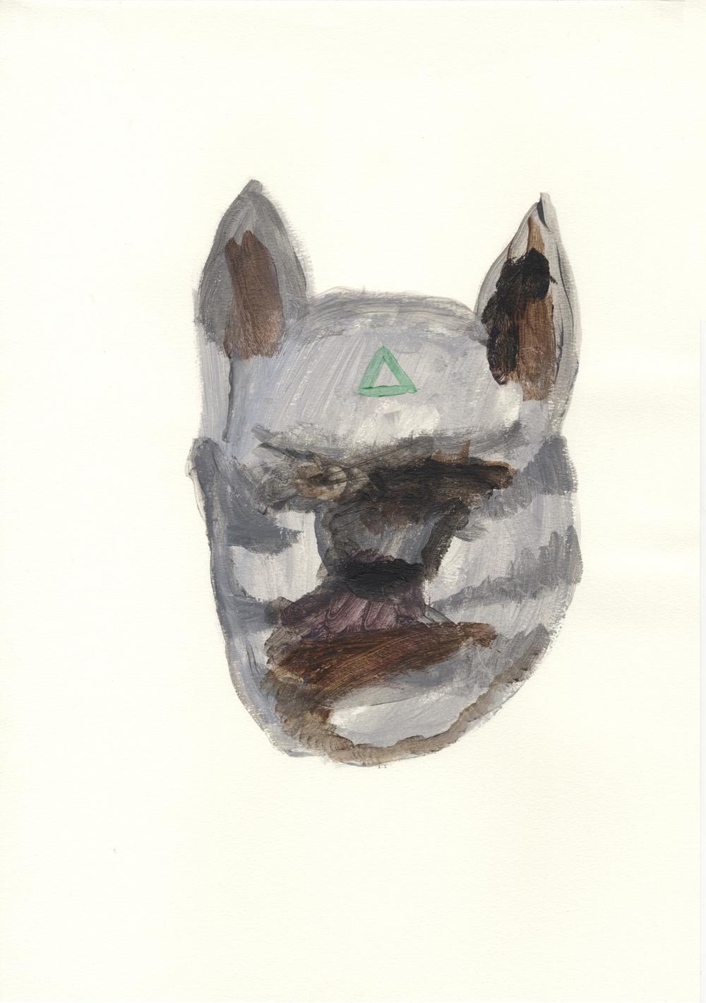 Lobo místico. Acrílito sobre papel. 42x29,7cm
