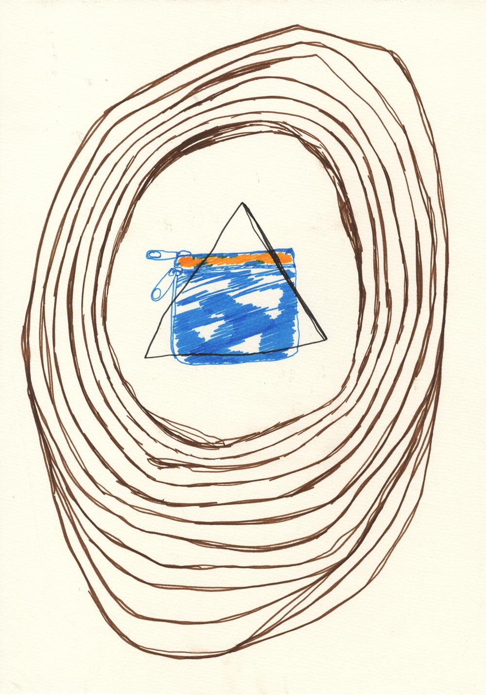 Mapa topográfico especificando la ubicación de un monedero. Rotulador sobre papel. 42x29,7cm