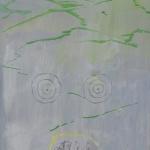 El oso que nunca llegaba y compañía siendo observados desde el espacio. Acrílico sobre lienzo. 34 x 27cm