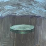 Rodaja de pepino extraterrestre. Acrílico sobre lienzo. 34 x 27 cm